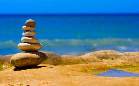 Stone composition on the stone beach Banco de Imagens