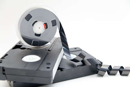 vhs videotape: old video tape on white background