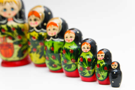russian matryoshka doll on white background photo