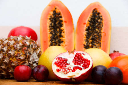 an assortment of mixed fruits and vegetables as background image photo