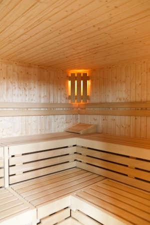 Close-up shot of inside of a wooden sauna