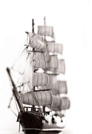 Photo of a model of ship with sails Banco de Imagens