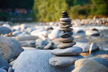 Stone composition on the stone river Banco de Imagens