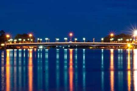 Bridge over the river in front of Wat Yai, Phitsanulok  photo