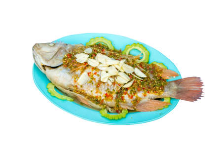 thai food,Fish topped with chili  photo
