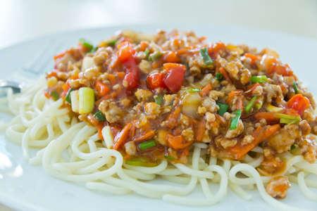 spaghetti saus: En spaghettisaus Stockfoto