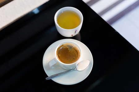 Hot coffee and tea. Stock Photo