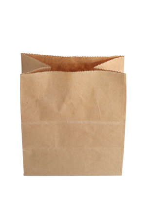 Brown paper bag isolate on a white background.