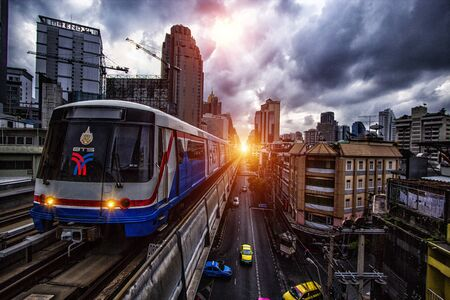 Bangkok,Thailand - March 01,2014 : The BTS and Sky Train Mass Transit in the Bangkok of Thailand with background and train at station.Thailand. art