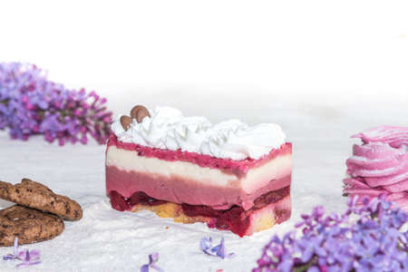dulcet: Beautiful piece of cake, marshmallow, cookies and caramel with nuts