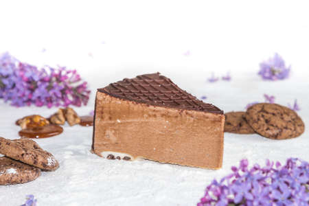 dulcet: Beautiful piece of cake, cookies and caramel with nuts Stock Photo