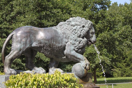 petergof: Bronze figure of a lion - a fragment of the fountain