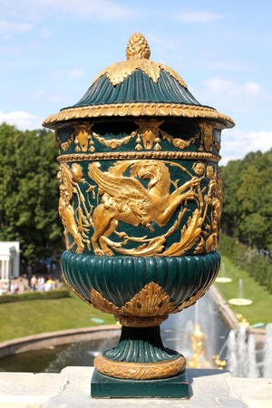 petergof: Large green vase with gilded image of Griffon in Petrodvorets, Russia