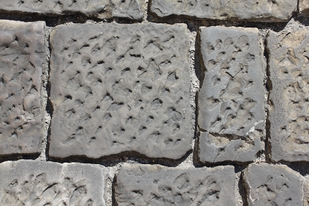 gouged: The pavement of the city of Florence in Italy