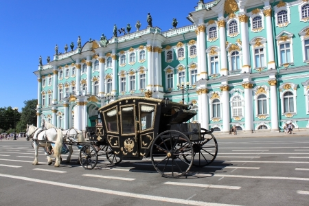 brougham: The coach for walks on the Palace Square in St. Petersburg, Russia Editorial