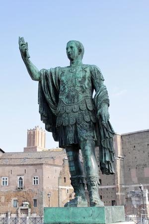 Statue of Roman Emperor in Trajans Forum. Rome, Italy