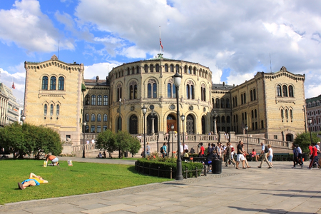 designates: OSLO, NORWAY- CIRCA JULY  2011   Storting - the Norwegian parliament, designates himself as the Norwegian parliament and the parliament building  Parlament building was designed by Swedish architect Emil Victor Langlet in 1866, is located in the heart of  Editorial