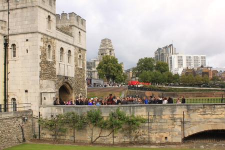 excursions: London - CIRCA OCTOBER 2011  Her Majesty s Royal Palace and Fortress, Tower of London  People on excursions in the historic castle on the north bank of the River Thames in central London Editorial