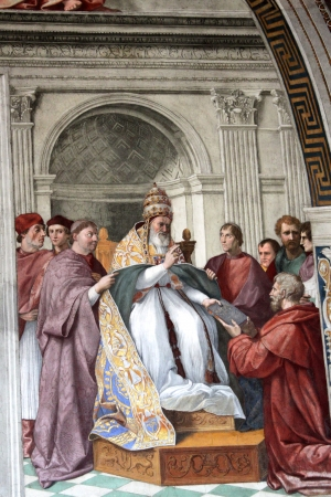 stanza: VATICAN CITY - CIRCA SEPTEMBER 2012: Cardinal and Theological Virtues  Fresco by Raphael, part of his Stanza della Segnatura  1511  in the Palazzi Vaticani in Vatican City  Editorial