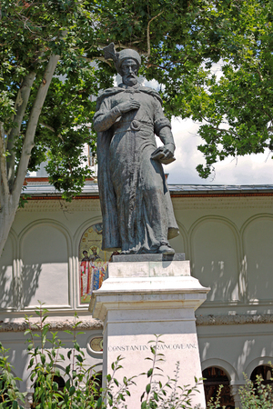 constantin: Statue of Constantin Brancoveanu in Bucharest. Constantin Brancoveanu was Prince of Wallachia between 1688 and 1714. Stock Photo
