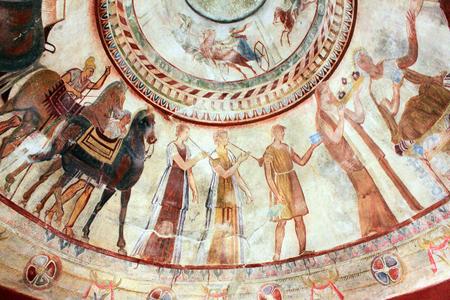 bce: Kazanlak, Bulgaria - July 15, 2015: Detail of Fresco in the 4th century BCE Thracian Tomb of Kazanlak.