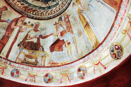 bce: Kazanlak, Bulgaria - 15 July 2015: Detail of Fresco in the 4th century BCE Thracian Tomb of Kazanlak
