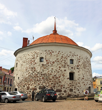 part of me: Vyborg, Russia - July 19, 2016: Round Tower is a fortification at the market square of Vyborg. It was built in 1547�1550 by the order of Gustav I of Sweden as a part of the medieval town wall Editorial