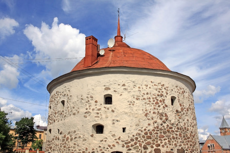 vyborg: Round Tower is a fortification at the market square of Vyborg, Russia. It was built in 1547�1550 by the order of Gustav I of Sweden as a part of the medieval town wall