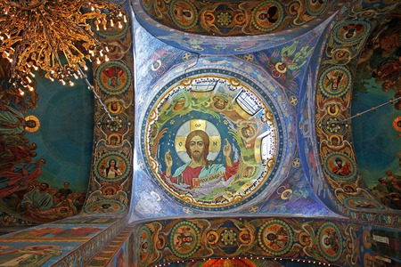 Saint Petersburg, Russia -14 July 2016: Mosaics of Christ Pantocrator under the central dome in the interior of the Church of the Savior on Spilled Blood.