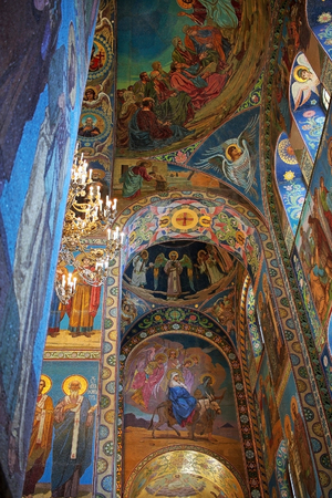 Saint Petersburg, Russia -14 July 2016: Mosaics in the interior of the Church of the Savior on Spilled Blood.  Church contains over 7500 square meters of mosaics.