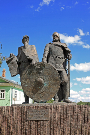 Staraya Ladoga (Old Ladoga), Russia - 17 July 2016: Monument to Prince Rurik and Oleg of Novgorod (Oleg the Seer). They are the founders of the Russian state in the 9th century.