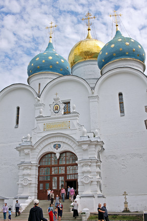 gods: Sergiyev Posad, Russia - 15 July 2017: Assumption Cathedral (built in1559–1585) in Trinity Sergius Lavra.