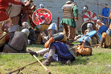 Staraya Ladoga, Russia - July 17, 2016: Festival The first capital of Russia, devoted to the birth of the Russian state in 862. Re-enactment of a medieval battle.