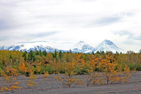 Klyuchevskaya group of volcanoes in Kamchatka Peninsula in Russia: Ushkovsky Volcano, Klyuchevskoy Volcano and Kamen Volkano.