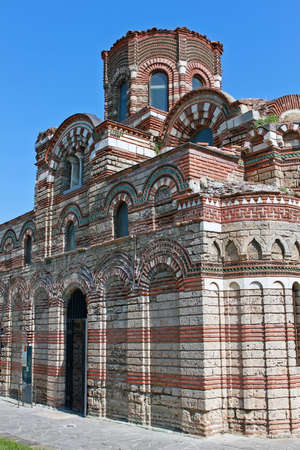 Nesebar, Bulgaria - 12 July 2015: Church of Christ Pantocrator is a medieval Eastern Orthodox church. Was constructed in the 13th–14th century and is best known for its lavish exterior decoration.
