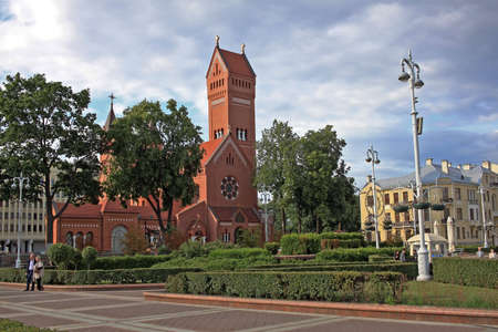 Minsk, Belarus – 13 July 2019: Church of Saints Simon and Helena. Built in 1910. It is a Roman Catholic church, but in the Soviet era the church was used as a cinema. Mass is celebrated in Belarusian, Polish, Lithuanian, and Latin Editoriali