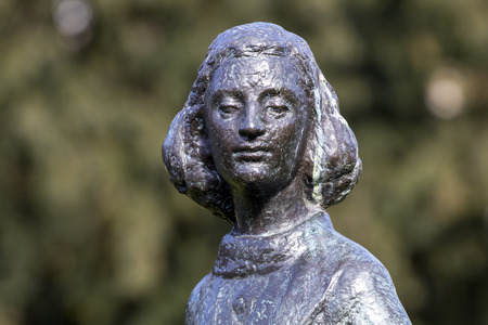 AMSTERDAM, North Holland, The Netherlands, 18 march 2018, Statue of Anne Frank at the Merwedeplein in Amsterdam, The Netherlands