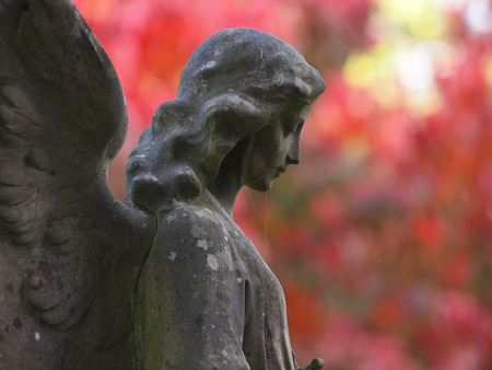 side view of statue of angel at municipal cemetery in Amsterdam, The Netherlands