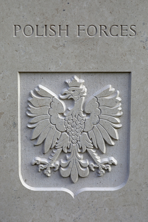 polish forces symbol on monument at municipal cemetery in Amsterdam, The Netherlands