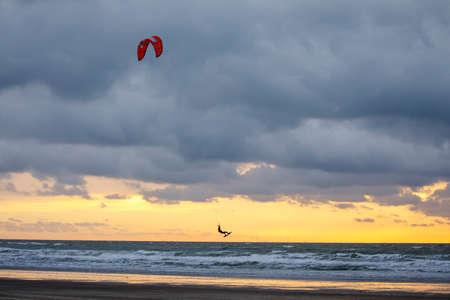 Kite surfer at Ijmuiden beach in The Netherlands