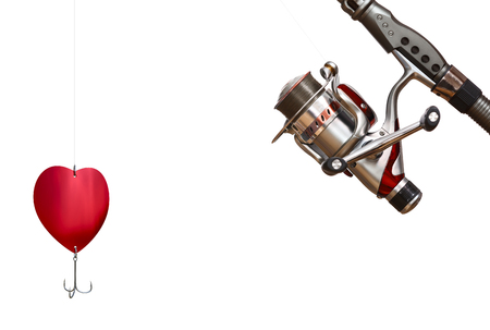 Fishing tackle isolated on white background. Valentines day concept. 스톡 콘텐츠