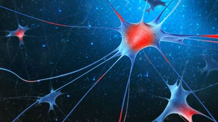 hormon: 3d render of nerve cells on blue background. Stock Photo
