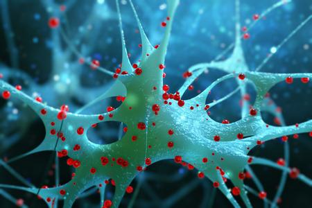 encephalon: Illustration of a nerve cell. Abstract illustration. 3d render.