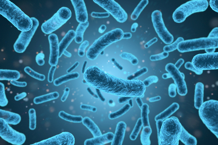 3D rendering bacteria closeup in blue background. 3d illustration.