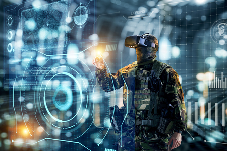 Soldier in glasses of virtual reality.  Military concept of the future. Stock Photo