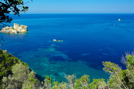 View of a beautiful bay with clear turquoise water. Greece. Corfu. Stock Photo