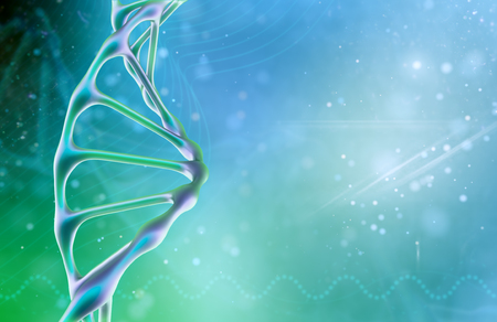 Concept of biochemistry with dna molecule on color background. Science concept background. 3 d render. Banco de Imagens