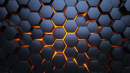 Blaue und orange Sechsecke. Moderner Hintergrund. Moderne Tapete. 3D-Darstellung.