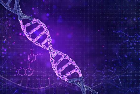 Concept of biochemistry with dna molecule on color background. Science concept background. 3d render.
