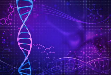 Concept of biochemistry with dna molecule on color background. Science concept background. 3 d render. Archivio Fotografico